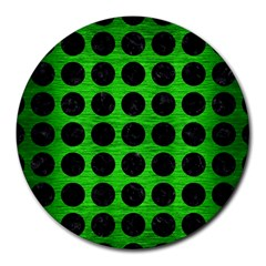 Circles1 Black Marble & Green Brushed Metal (r) Round Mousepads by trendistuff