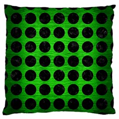 Circles1 Black Marble & Green Brushed Metal (r) Large Flano Cushion Case (one Side) by trendistuff