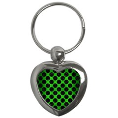 Circles2 Black Marble & Green Brushed Metal (r) Key Chains (heart)  by trendistuff