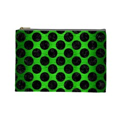 Circles2 Black Marble & Green Brushed Metal (r) Cosmetic Bag (large)  by trendistuff