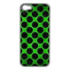 Circles2 Black Marble & Green Brushed Metal (r) Apple Iphone 5 Case (silver) by trendistuff