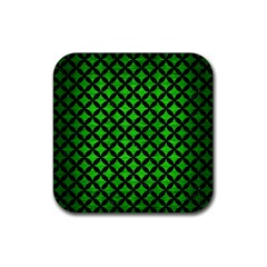 Circles3 Black Marble & Green Brushed Metal (r) Rubber Square Coaster (4 Pack)  by trendistuff