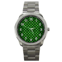 Circles3 Black Marble & Green Brushed Metal (r) Sport Metal Watch by trendistuff