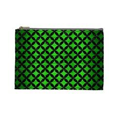 Circles3 Black Marble & Green Brushed Metal (r) Cosmetic Bag (large)  by trendistuff