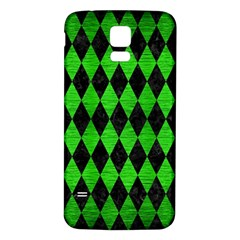 Diamond1 Black Marble & Green Brushed Metal Samsung Galaxy S5 Back Case (white) by trendistuff