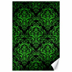 Damask1 Black Marble & Green Brushed Metal Canvas 12  X 18   by trendistuff