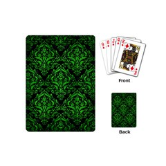 Damask1 Black Marble & Green Brushed Metal Playing Cards (mini)  by trendistuff