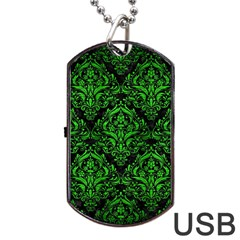 Damask1 Black Marble & Green Brushed Metal Dog Tag Usb Flash (two Sides) by trendistuff