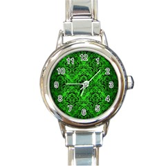 Damask1 Black Marble & Green Brushed Metal (r) Round Italian Charm Watch by trendistuff