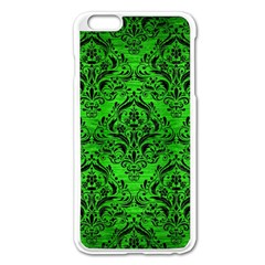 Damask1 Black Marble & Green Brushed Metal (r) Apple Iphone 6 Plus/6s Plus Enamel White Case by trendistuff