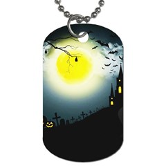 Halloween Landscape Dog Tag (two Sides) by Valentinaart