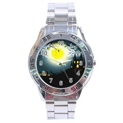 Halloween Landscape Stainless Steel Analogue Watch by Valentinaart