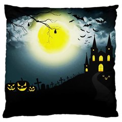 Halloween Landscape Large Cushion Case (one Side) by Valentinaart