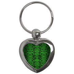 Damask2 Black Marble & Green Brushed Metal Key Chains (heart)  by trendistuff