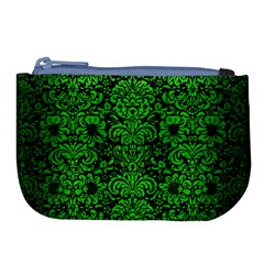 Damask2 Black Marble & Green Brushed Metal Large Coin Purse by trendistuff