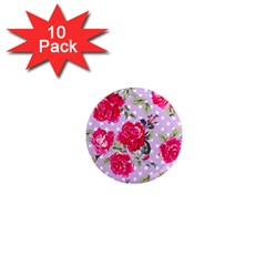Shabby Chic,pink,roses,polka Dots 1  Mini Magnet (10 Pack)  by 8fugoso
