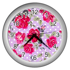 Shabby Chic,pink,roses,polka Dots Wall Clocks (silver)  by Love888