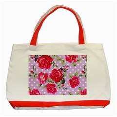 Shabby Chic,pink,roses,polka Dots Classic Tote Bag (red) by 8fugoso