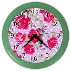 Shabby Chic,pink,roses,polka Dots Color Wall Clocks by Love888