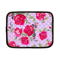 Shabby Chic,pink,roses,polka Dots Netbook Case (small)  by 8fugoso
