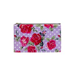 Shabby Chic,pink,roses,polka Dots Cosmetic Bag (small)  by 8fugoso
