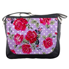 Shabby Chic,pink,roses,polka Dots Messenger Bags by 8fugoso