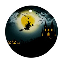 Halloween Landscape Ornament (round) by Valentinaart