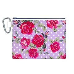 Shabby Chic,pink,roses,polka Dots Canvas Cosmetic Bag (l) by 8fugoso