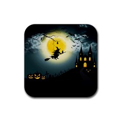 Halloween Landscape Rubber Square Coaster (4 Pack)  by Valentinaart