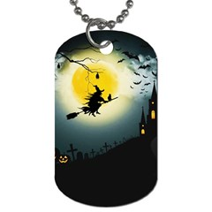 Halloween Landscape Dog Tag (one Side) by Valentinaart