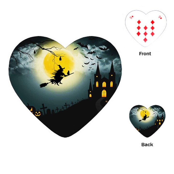 Halloween landscape Playing Cards (Heart)