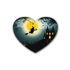 Halloween Landscape Rubber Coaster (heart)  by Valentinaart