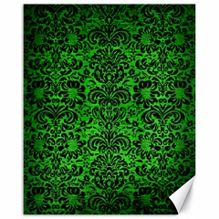Damask2 Black Marble & Green Brushed Metal (r) Canvas 16  X 20   by trendistuff