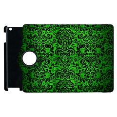 Damask2 Black Marble & Green Brushed Metal (r) Apple Ipad 2 Flip 360 Case by trendistuff