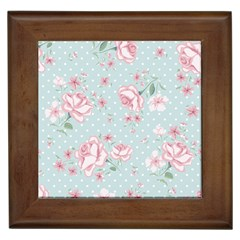 Shabby Chic,pink,roses,polka Dots Framed Tiles by 8fugoso