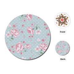Shabby Chic,pink,roses,polka Dots Playing Cards (round)  by 8fugoso