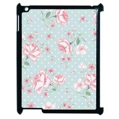 Shabby Chic,pink,roses,polka Dots Apple Ipad 2 Case (black) by 8fugoso