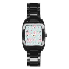 Shabby Chic,pink,roses,polka Dots Stainless Steel Barrel Watch by 8fugoso