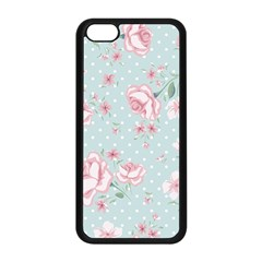 Shabby Chic,pink,roses,polka Dots Apple Iphone 5c Seamless Case (black) by 8fugoso