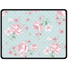 Shabby Chic,pink,roses,polka Dots Double Sided Fleece Blanket (large)  by 8fugoso