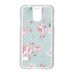Shabby Chic,pink,roses,polka Dots Samsung Galaxy S5 Case (white) by 8fugoso