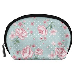 Shabby Chic,pink,roses,polka Dots Accessory Pouches (large)  by 8fugoso