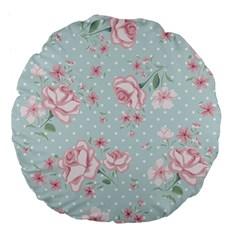 Shabby Chic,pink,roses,polka Dots Large 18  Premium Flano Round Cushions by 8fugoso
