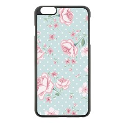 Shabby Chic,pink,roses,polka Dots Apple Iphone 6 Plus/6s Plus Black Enamel Case by 8fugoso