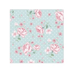 Shabby Chic,pink,roses,polka Dots Small Satin Scarf (square) by 8fugoso