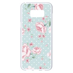 Shabby Chic,pink,roses,polka Dots Samsung Galaxy S8 Plus White Seamless Case by 8fugoso