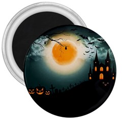 Halloween Landscape 3  Magnets by Valentinaart