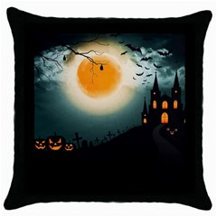 Halloween Landscape Throw Pillow Case (black) by Valentinaart