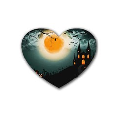 Halloween Landscape Heart Coaster (4 Pack)  by Valentinaart