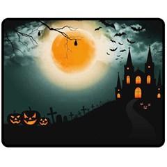Halloween Landscape Fleece Blanket (medium)  by Valentinaart